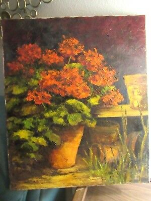 Vintage Original Oil Painting on Canvas by E. McDermitt Floral