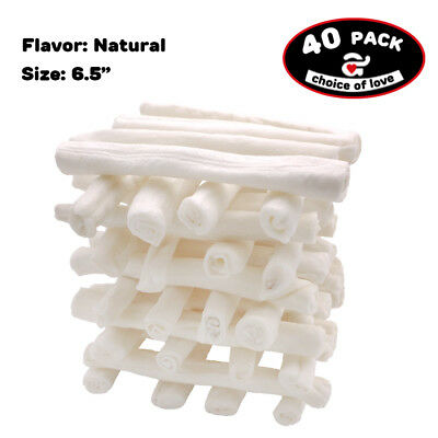 "azuza 6.5"" 40 Count Dog Retriever Rolls Natural Flavor Rawhide Chews US Ship"