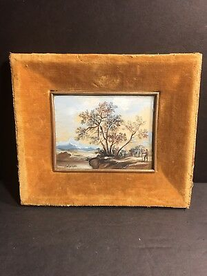 A Hand Painted Miniature Landscape / Oil On IVORINE / Italy Circa 1930/ Signed