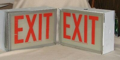 "VINTAGE PAIR OF LIGHTED EXIT SIGNS by WESTERN FLUORESCENT LIGHT CO.  ""STEAMPUNK"""
