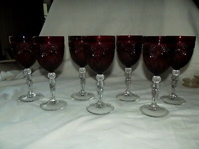 "(7) Water goblets Glasses 8"", crystal Cristal D'Arques ""Antique"" Ruby Red Glass"