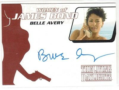 """WOMEN OF JAMES BOND WA39 BELLE AVERY in """"THE LIVING DAYLIGHTS"""" AUTOGRAPH"""