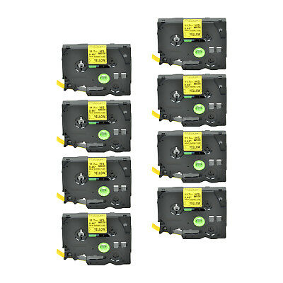 """8PK Heat Shrink Cartridge Label Black on Yellow HSe631 For Brother P-Touch 1/2"""""""