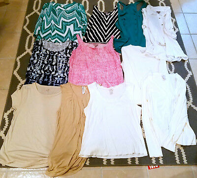 9d0ab8474bc622 Lot Of 11 Tops Blouses Shirts J. Jill Chico's Anne Taylor Maurices Sz L Nice