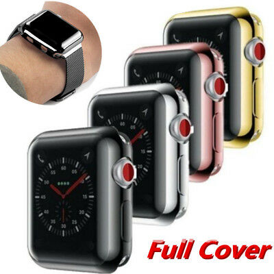 For Apple iWatch Series 4/3/2 38/44mm Slim Full Cover TPU Screen Protector Case