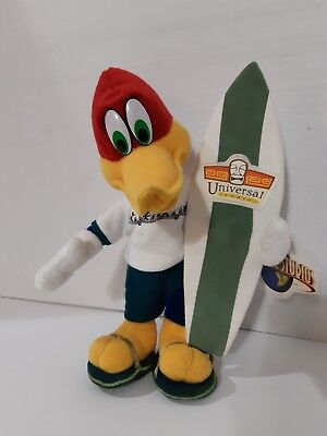 Woody Woodpecker Surfer Tiki Universal Studios Plush Figure with Tag