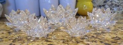 Swarovski Crystal Waterlily Candle Holders Lot of 5 (2 S, 2 M, 1 L)
