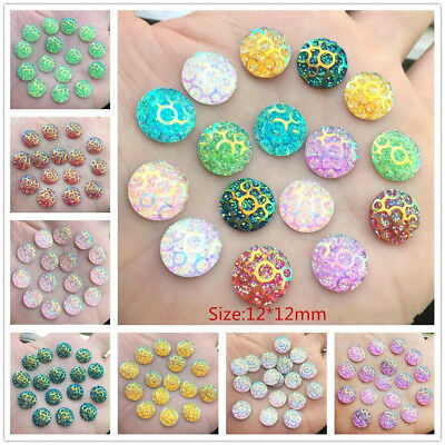 New 80PCS 12mm Round Resin FlatBack Appliques/Craft/Wedding Home Decor DIY