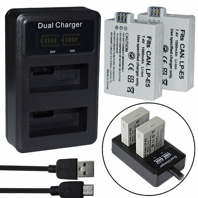 LP-E5 Battery /Dual Charger For Canon Rebel XS XSi T1i 450D 500D 1000D Kiss X3 F