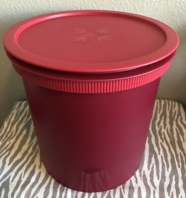 Tupperware Large Jumbo Bucket 14qt /14L Red w/ Glitter Large Canister New