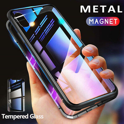 Luxury Metal Magnetic Adsorption Case for iPhone XS Max 8 7 Tempered Glass Cover