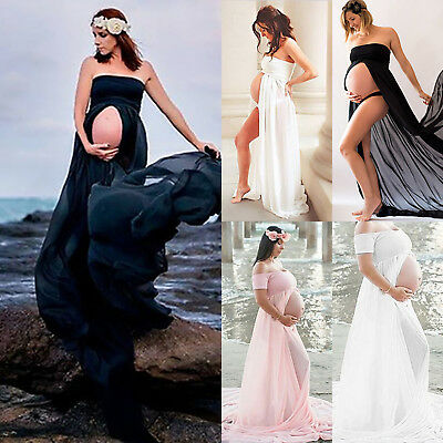 Pregnant Women Off Shoulder Split Long Maxi Nursing Maternity Dress Photography