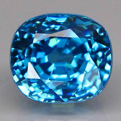 5.23ct.Hottest Luster! 100%Natural Rich Seafoam Blue Zircon Cambodia AAA BIG!
