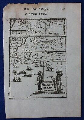 Original antique map NORTH AFRICA, SAHARA, 'BILEDULGERID', Mallet, 1683