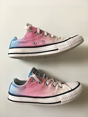 3215269719a6 Girls Converse Shoes Trainers Pumps All Star Ox Sunset Wash Pink Ombré Size  UK 1