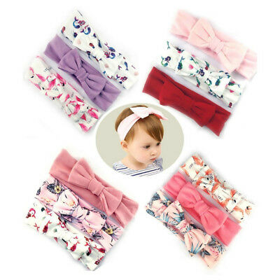 3pcs Baby Girl Newborn Cotton Bow Stretchy Knotted Ear Headbands Hair Band New