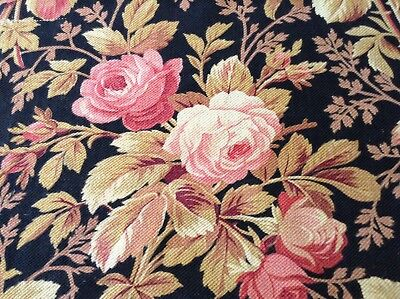 """Lovely Antique French floral fabric cotton black heavy late 19th c.  33"""" x 73"""""""
