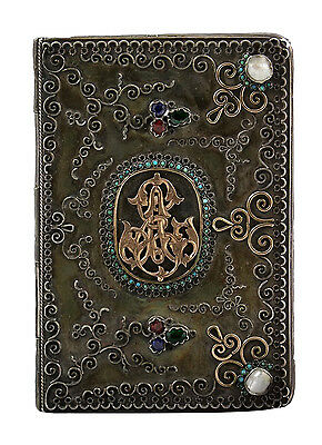 Superb Ottoman Empire / 19thC Turkish Silver Book Cover w/ Mop, Gold & Turquoise