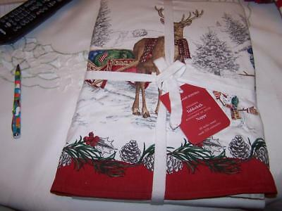 "New Williams Sonoma Christmas Tablecloth Snowman Tablecloth 90"" Round"