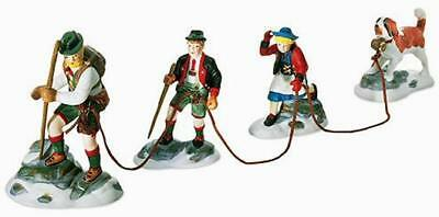 Dept 56 Alpine Village Series Climb Every Mountain Hikers 4 pc Set ~ MINT in Box