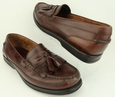 b3e282567fc BASS Strout Kiltie Tassel Brown Leather Slip-on Moc-Toe Loafer Shoes Mens  11.5