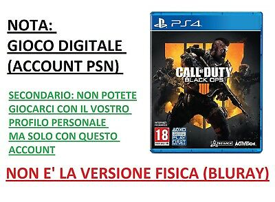 Call of Duty Black Ops 4 PS4 Playstation 4 DIGITALE Account Secondario Gioco ITA