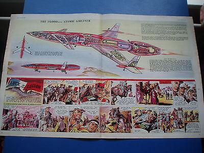 EAGLE CUTAWAY 3/9/1954 10,000mph ATOMIC AIRLINER PROTOTYPE   VGC