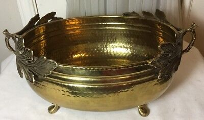 Vintage Large Heavy Solid Brass Oval Footed Planter Pot With Leafs Handles
