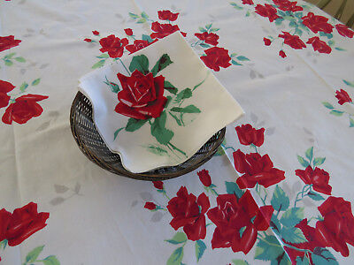 1950s Royal Red Roses Tablecloth by Wilendure and one Napkin Vtg Table Linens