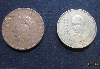 Two Mexican Coins Of Different Years And Denominations 1956 And 1989