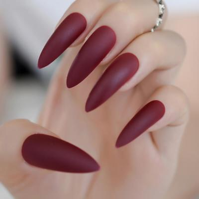 Extra Long Matte Press On Nails Marvel Red Stiletto Artificial Nail Tips Frosted