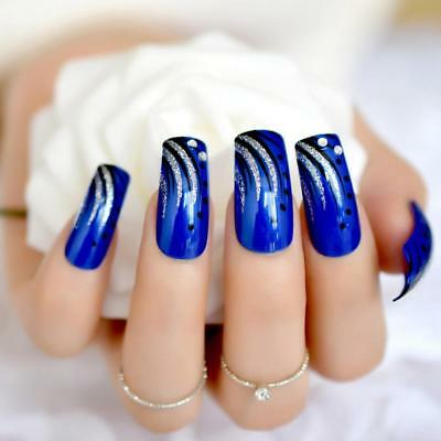 Long Square Nails Deep Blue UV Gel Press On Nails Jewellry Designed Nail Tips Ki
