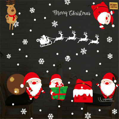 Novelty Lovely Wall Stickers Decal Cute Santa Claus Elk Shape Xmas Home Decor F