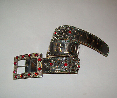 Old Vtg 1950s Rare Leather Belt Jeweled Buckle and Studded Cowboy Biker Western