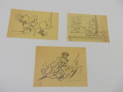 "3 Walt Disney VAN HORN Pencil ORIGINAL DRAWINGS Art Cartoon Scrooge McDuck 5""x8"""