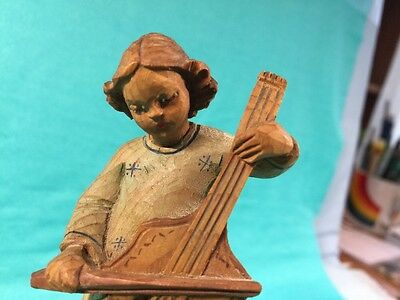 Anri Music Box Reuge Silent Night Vintage Hand Carved Wooden Girl w. curly hair