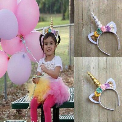 Girl Unicorn Horn Headband Flowers Headband for Party Decoration Cosplay Costume