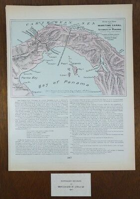 "Vintage 1902 (Dated) PANAMA CANAL BIRDS EYE VIEW Map 11""x14"" Old Antique MAPZ"