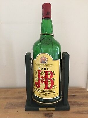 J & B Scotch Whiskey Large Display Bottle With Cradle RARE COLLECTABLES