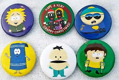 South Park Comedy Central Set/6 Buttons Pin Back Towelie Ike Jimmy Etc Mint