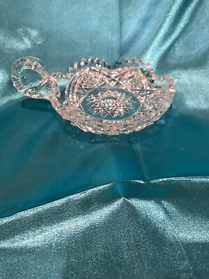 Antique American Brilliant Cut Glass Crystal Nappy Candy Dish Bowl