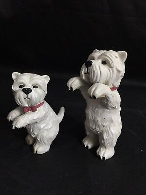 "West Highland White Terrier Sitting Up Puppy Dog Figurines 4-1/2"" Tall Lot Of 2"