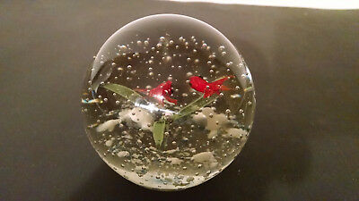 Vintage Goldfish Art Bubble Glass Paperweight