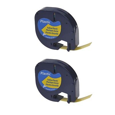US STOCK 2PK Black on Yellow Plastic Label Tape for DYMO Letra Tag LT 91332 12mm