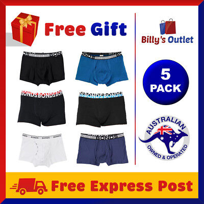 5 Pack Bonds Mens Underwear Flyfront Trunks Black Boxer Shorts Sizes S M L XL