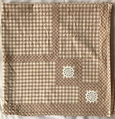 "Vintage Hand Cross Stitch Tablecloth Tea Cloth Brown White Check 35"" Square"