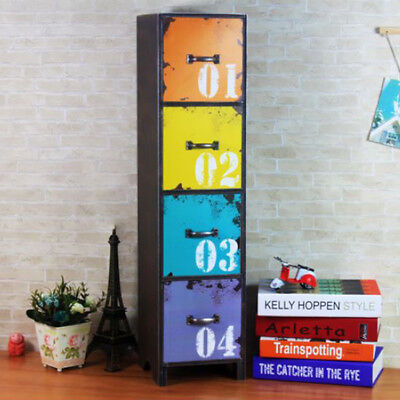 Tall Drawer Storage Cabinet Side Lamp Table Distressed Multi Coloured Furniture