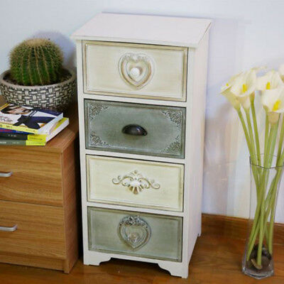Vintage Drawer Side Table Shabby Chic Lamp Storage Cabinet White Furniture Unit