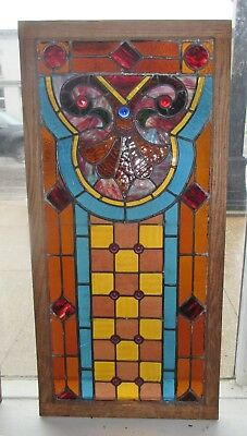 Antique Victorian Stained Glass Window Jewels Checkerboard 38x19