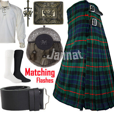 Men's Scottish 8-Yards Traditional Kilt Set Outfit 16oz 8-Pic,100% Acrylic Wool